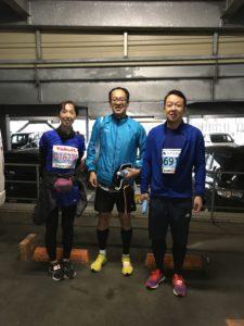 水戸マラソン出走前に兄(中央)と姉(左)との1枚